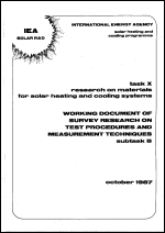 Working Document of Survey Research on Test Procedures and Measurement Technicques